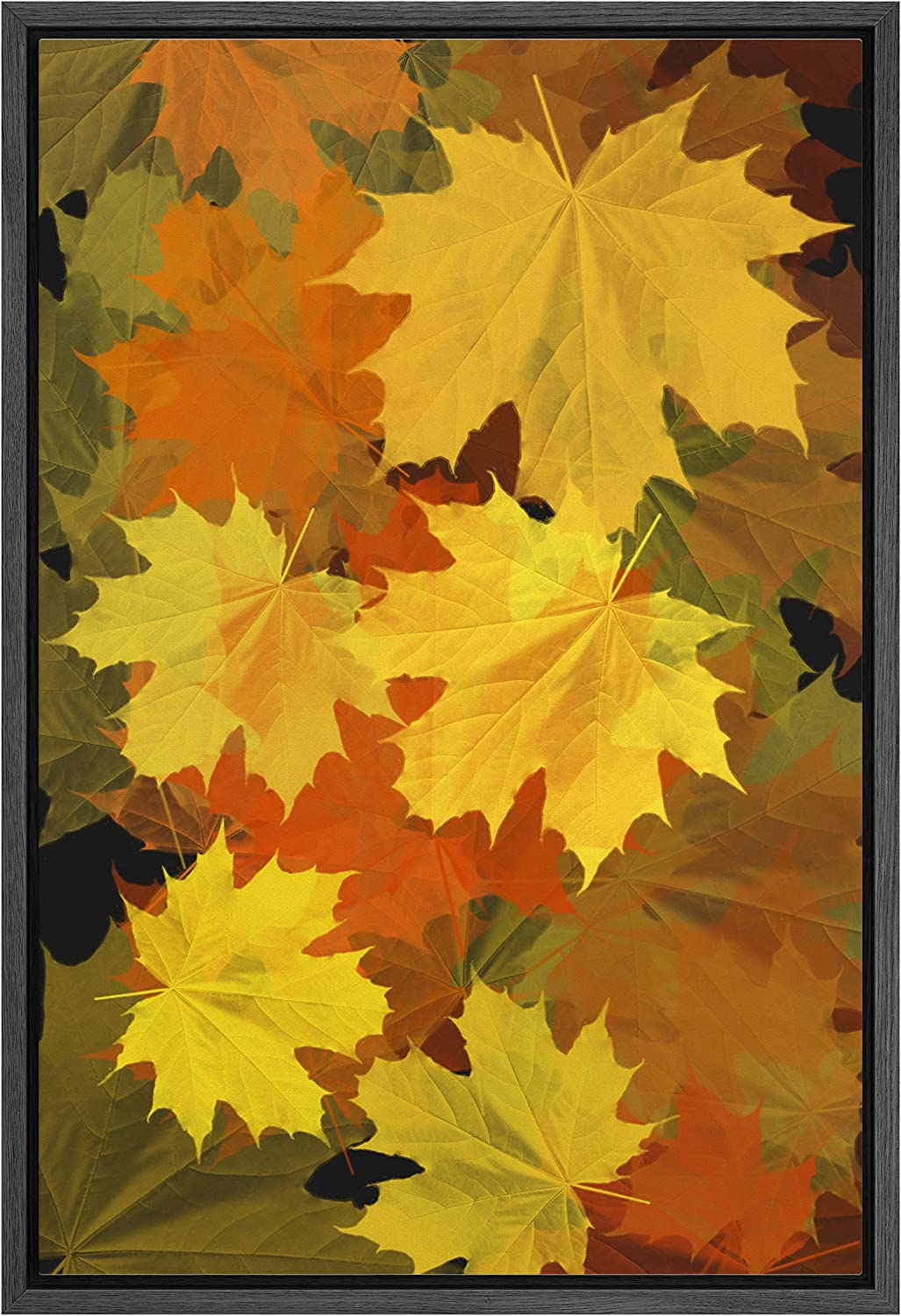 SIGNWIN Framed Canvas Wall Art New life Yellow and Leaves Orange Cheap mail order shopping Maple Bo