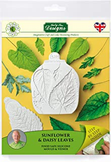 Sunflower & Daisy Leaves & Veiner, Silicone Sugarpaste Icing Mold, Flower Pro by Nicholas Lodge for Cake Decorating, Crafts, Cupcakes, Sugarcraft, Candies and Clay, Food Safe Approved, Made in the UK