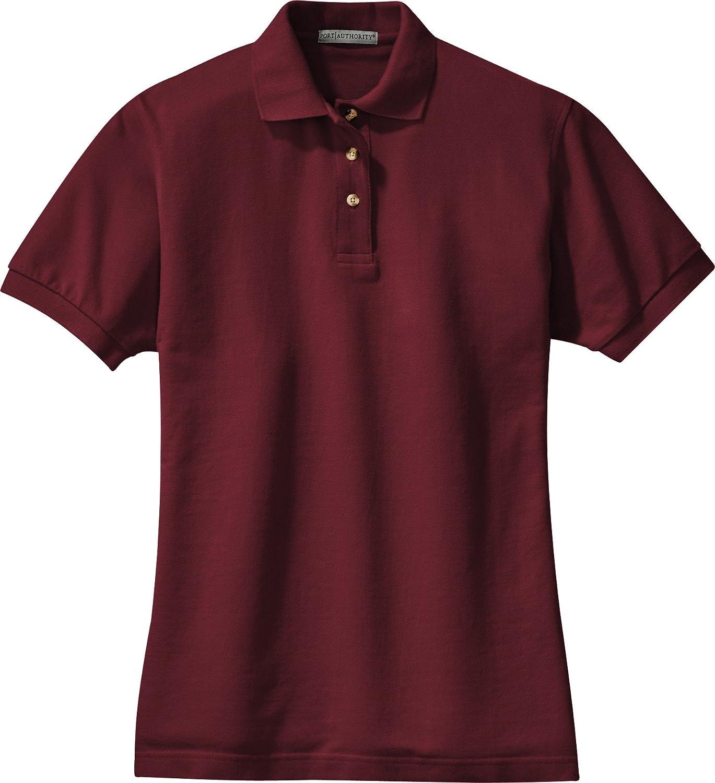 Port Authority Ladies Short Sleeve Cotton Pique Knit Sport Shirt Polo-Burgundy L420