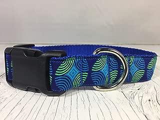 Blue and Lime Green Geometric Circles Dog Collar