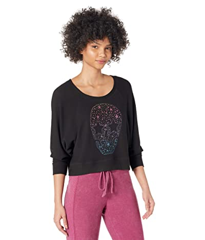 Chaser Sparkle Skull Cozy Knit Sweatshirt Women