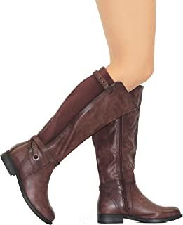 MVE Shoes Knee High Side Lace Up Vegan Leather Boots
