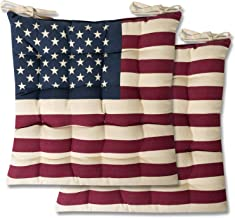 Sweet Home Collection Chair Cushion Seat Pads Indoor/Outdoor Printed Tufted Design Soft and Comfortable Covers for Dining Rooms Patio with Ties for Non Slip, 2 Pack, American Flag 2 Pack