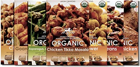 Arora Creations USDA-Organic ALL 7 FLAVORS VARIETY PACK Indian Spice Blends (7 Pack) (7 Flavors Available) (Curry / Seasoning / Herb / Mix)