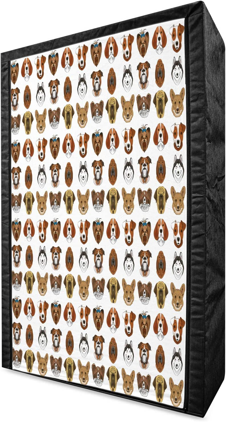 Ambesonne Dogs Portable Fabric Portraits Be super welcome Long-awaited with of Wardrobe