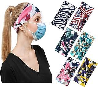 Sponsored Ad - Button Headbands 6PCS Set- Non Slip Elastic Headbands with Button Hair Accessories for Women Moisture Wicki...