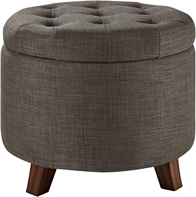 Amazon Com Homepop Large Button Tufted Round Storage Ottoman Light Tan Furniture Decor