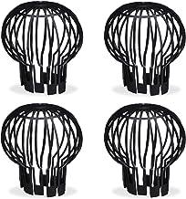 Relaxdays, Zwarte regenpijpen, set van 4, kunststof mand, bladeren gootzeef, regenpijpen, dakgootbescherming, Ø 13 cm, PP