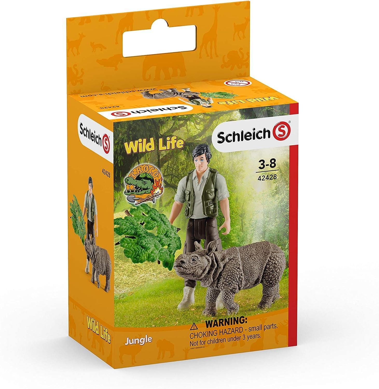 Schleich- Colección Wild Life Set de Figuras de Iniciación con Ranger y Rinoceronte (42428)