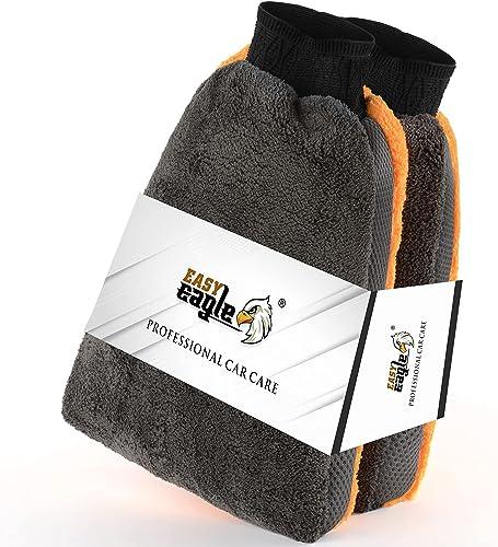 EASY EAGLE Gant de Lavage en Microfibre, pour la Nettoyage Voiture et Moto, Pack de 2