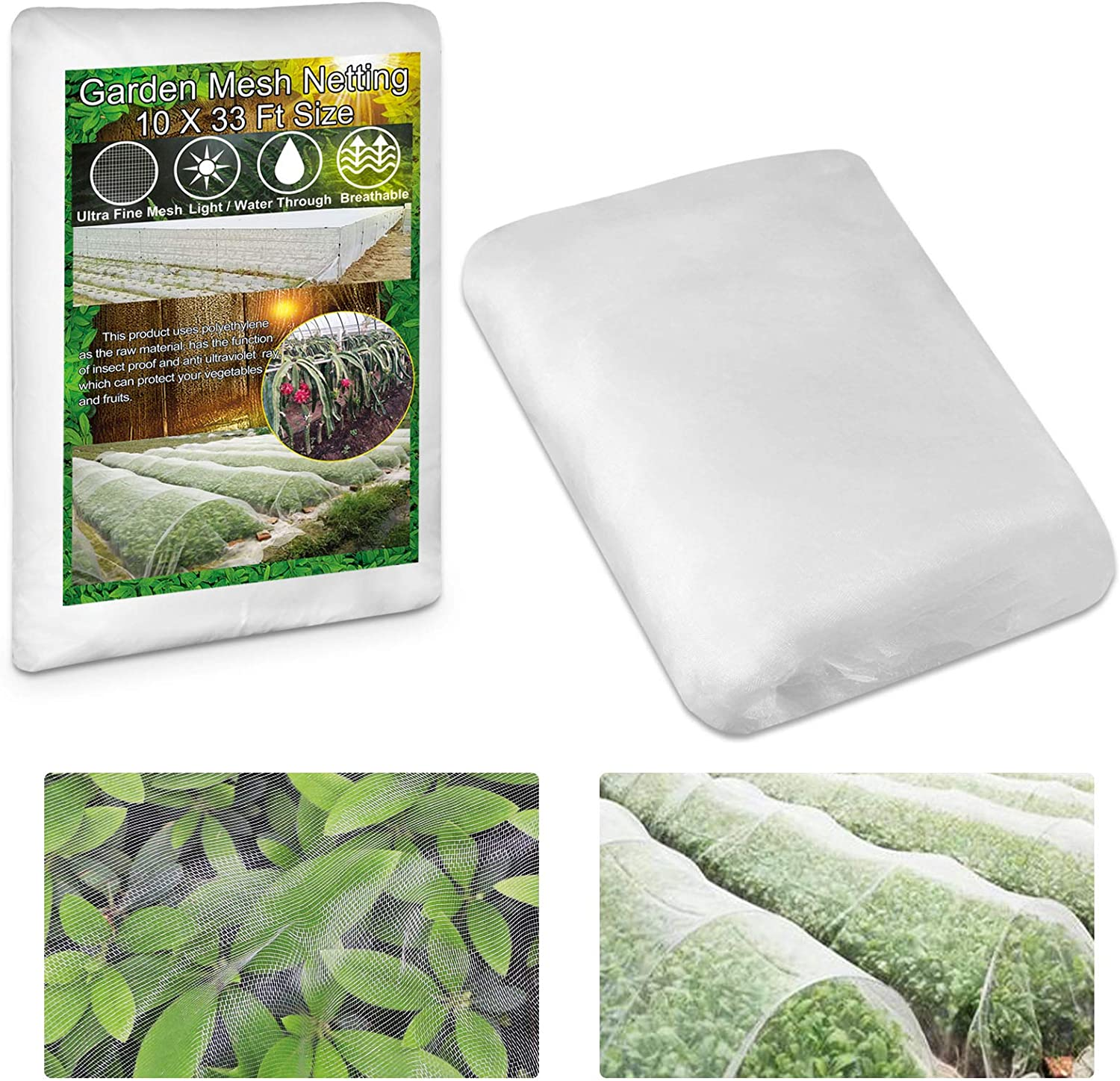 """KY-YPFW 10x33 Ft Garden Netting Plant Covers - 0.032"""" x 0.04"""" Ultra Fine Mesh Protect Vegetables Fruits Flowers Plants Crops Greenhouse Row Cover Protection Screen Barrier Net for Birds Animals, White : Patio, Lawn & Garden"""