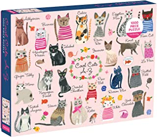 Mudpuppy Cool Cats A-Z 1000 Piece Jigsaw Puzzle for Families and Adults, Cat Puzzle with Colorful Illustrations of 23 Cat Breeds, Gift for Cat Lovers