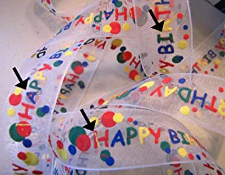 Ribbon Art Craft Decoration 10 Yds Flawed Happy Birthday Primary Puff Paint Sheer Ribbon 7/8