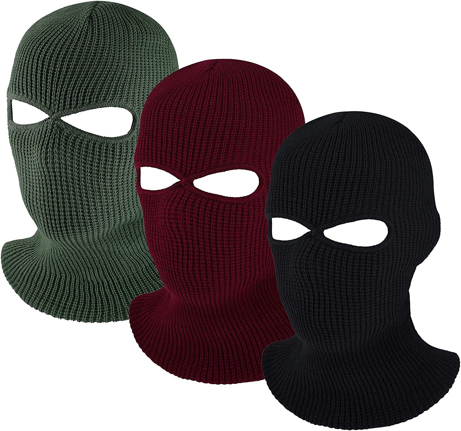 2hole Full Face Cover Ski Mask Knitted Balaclava Warm Knit for Man Women Outdoor
