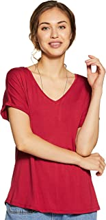 Amazon Brand - Symbol Women's Solid Loose Fit Half Sleeve T-Shirt