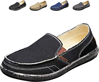 Men's Slip on Loafers Canvas Casual Flat Boat Shoes Comfort Footwear