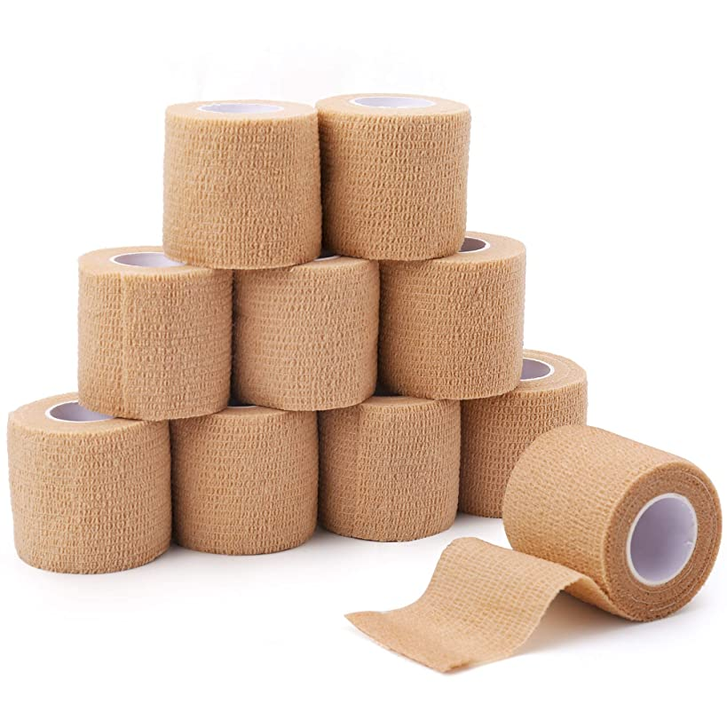 Self-Adherent Wrap,Cohesive Bandage, 2 Inches x 5 Yards, 10 Rolls, Sports Tape, Medical Supplies, First Aid Tape, Elastic Wrap