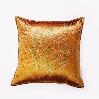 Best Home Fashion Golden - Bronze Snowflake Rhinestone Stud Velvet Pillow Cover 19
