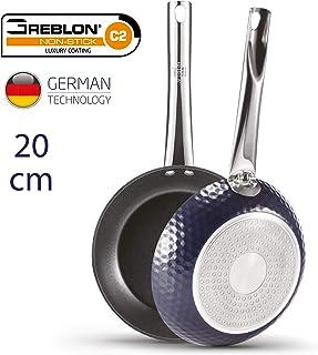 BERELA HOME Diamond II Sartén 20 cm con Mango Largo Profesional de Aluminio, Sartén Greblon Antiadherente Eco PFOA Free con tecnología Alemana. Sartén Antiadherente 20 cm.