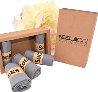 REELAXXX, Set de 5 calcetines para hombre y mujer en 95% LINO Alto Antitranspirante, sin elástico, Invierno Verano, Mixto ideal para deporte Correr y Relajarse Corte recto pares en la caja