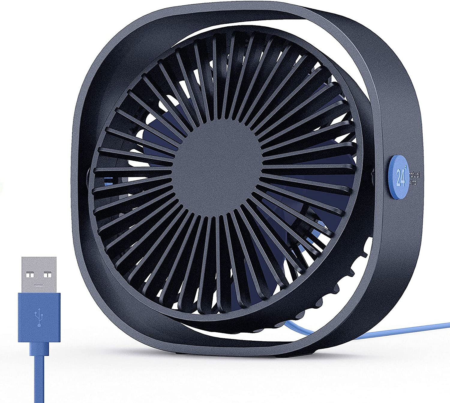 EasyAcc Small Personal USB Desk Fan,3 Speeds Portable Desktop Table Cooling Fan Powered by USB,Strong Wind,Quiet Operation,for Home Office Car Outdoor Travel (Navy Blue)