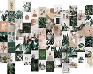 Boho Wall Collage Kit Aesthetic Pictures, 70 Set 4x6 inch Botanical Posters for Room Aesthetic, Green Plants Wall Art Collage Kit, Cottagecore Trendy Beige Cute Boho Bedroom Decor for Teen Girls Dorm