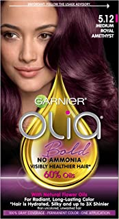 Garnier Olia Bold Ammonia Free Permanent Hair Color (Packaging May Vary), 5.12 Medium Royal Amethyst, Purple Hair Dye, Pack of 1