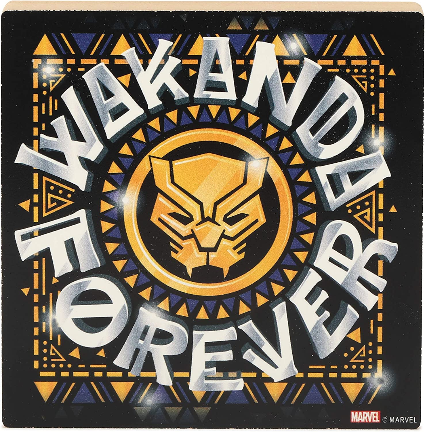 Open Road Brands Marvel Black Panther Room Décor - Wakanda Forever - Chunky Wood Block for Movie Room, Man Cave, or Kids' Room