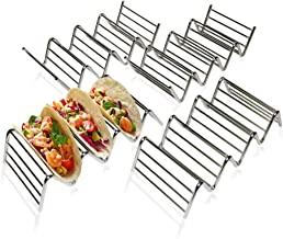 Taco Stand Up Holders – Tray Holders for Taco Shells – Pack of 4 Taco Racks – Stainless-Steel Taco Stands – Oven and Grill Safe for Tex-Mex Food – Tortilla Shaper Stand – Premium Kitchenware