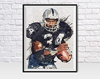 TopShelfPrints Bo Jackson Oakland Raiders Poster/Canvas Print - Football Artwork - Kids Room Wall Decor - Man Cave - Sports Decor - Birthday Gift Idea