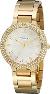 Akribos XXIV Women's AK585YG Impeccable Swiss Quartz Swarovski Crystal Stainless Steel Bracelet Watch