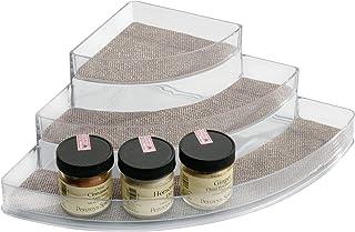 InterDesign Twillo rangement épices d'angle avec 3 compartiments pour le plan de travail, porte-épices en plastique pour a...