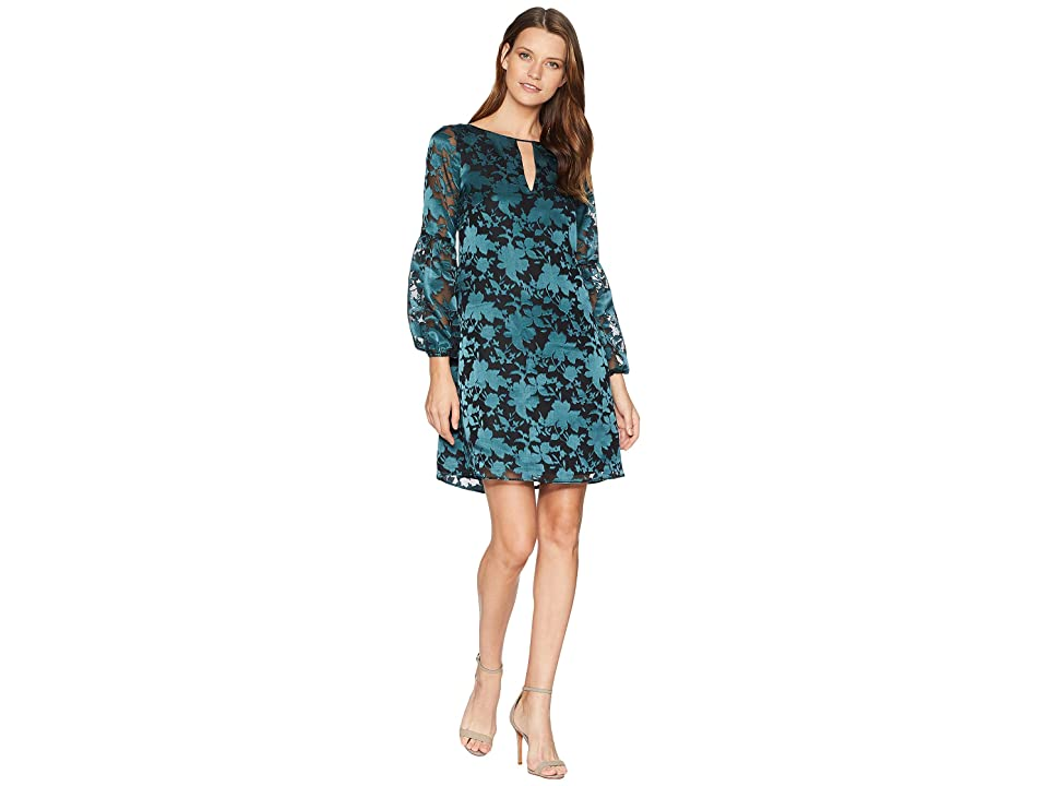 Vince Camuto Novelty Puff Sleeve Shift with Keyhole (Dark Teal Multi) Women