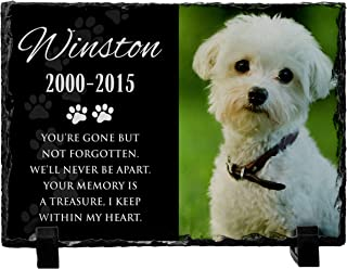 USA Custom Gifts Personalized Pet Memorial Stone with Photo for Dog Cat or Pets Name Dates - Matte & Glossy Options - UV & Water Proof Indoor Outdoor Garden Grave Marker and Desktop Photo Frame