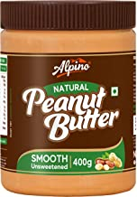 Alpino Natural Peanut Butter Smooth 400 G | Unsweetened | Made with 100% Roasted Organic Peanuts | No Added Sugar | No Added Salt | No Hydrogenated Oils | 100% Non-GMO | Gluten-Free | Vegan