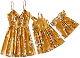 Mommy and Me Matching Dress Yellow Floral Printed Backless Summer Dress for Mother and Daughter