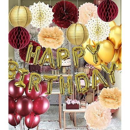 """Adornos de cumpleaños de color burdeos dorado para mujer, globos de oro con texto en inglés """"Happy Birthday"""", globos de oro burdeos para otoño, suministros de fiesta de cumpleaños 30/40/50 cumpleaños"""