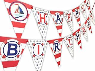 POP parties Nautical RED Happy Birthday Banner Pennant - Sailboat Party Banner - Made in The USA