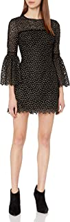 Cynthia Rowley Women's Ditzy Floral Embroidered Mesh Dress with Bell Sleeves, Sheer Yoke, and Trim Detail