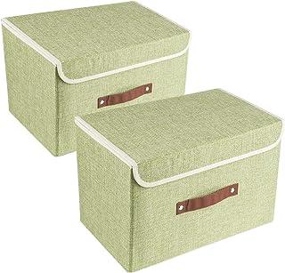 Fropackzo Lot de 2 boîtes de rangement avec couvercles et paniers de rangement pliables avec poignées en coton et lin pour...