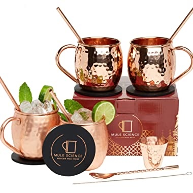 Mule Science Moscow Mule Copper Mugs - Set of 4 - Pure Solid Copper Mugs 16 oz with BONUS: Copper Cups with Cocktail Copper Straws, Stirring Spoon, Cleaning brush, Coasters and Shot Glass!