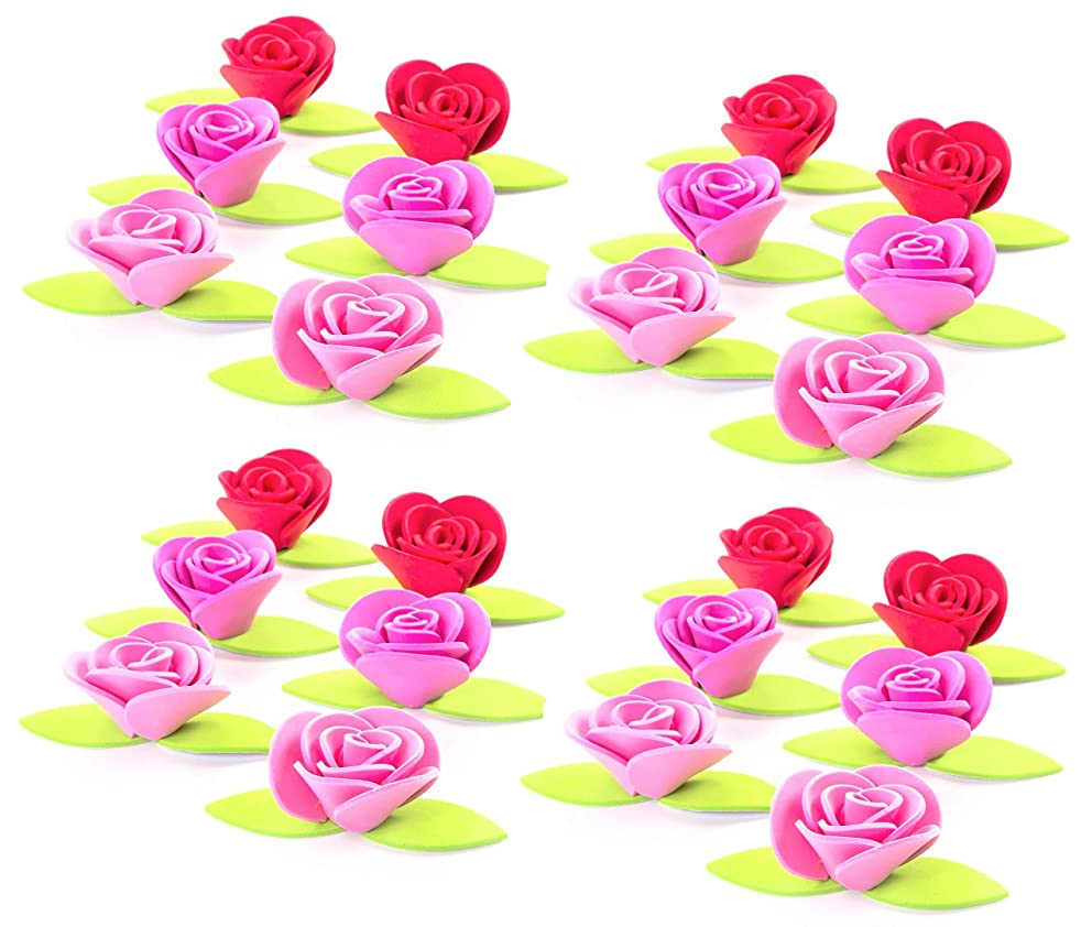 Valentine's Day Adhesive Foamies 3D Roses with Leaves - Red and Pink - 24 Pieces - 1
