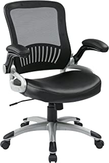 Office Star Breathable Screen Back and Bonded Leather Seat Managers Chair with Flip Arms and Silver Coated Accents, Black