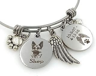 German Shepherd Personalized Memorial Remembrance Bangle Bracelet or Necklace, Engraved - Rainbow Bridge