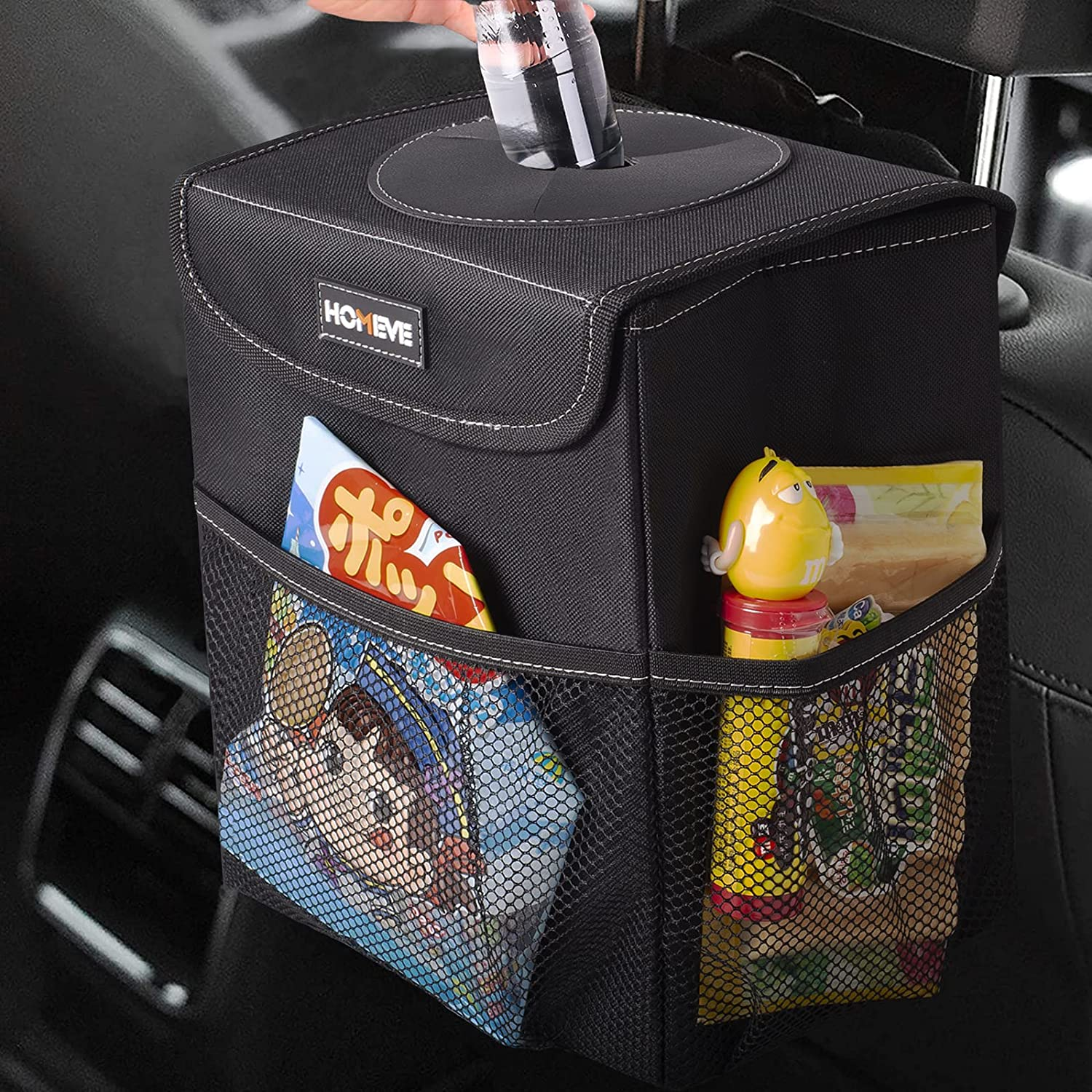 Multipurpose Car Trash Max 61% OFF Can Garbage Organizer with Bargain Lid Pockets