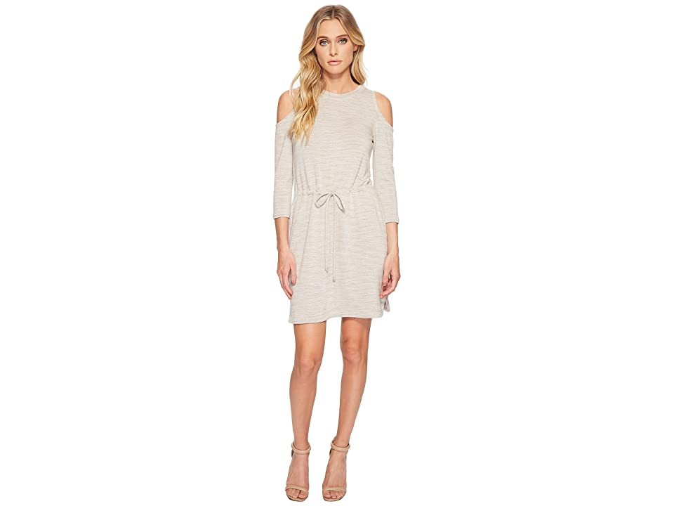 American Rose Delaney Front-Tie Long Sleeve Dress (Oatmeal) Women