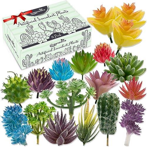 Plantas suculentas artificiales de primera calidad, paquete de 18 plantas suculentas falsas paquete variado con peque...