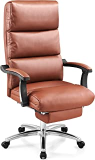 Ticova Executive Office Chair - High Back Leather Office Chair with Footrest and Thick Padding - Reclining Computer Chair with Textured Leather and Ergonomic Segmented Back