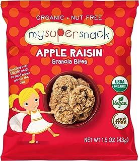 MySuperSnack Organic Granola Bites (Apple Raisin) - 12 Snack Packs, Healthy Snacks for Kids, Nut Free