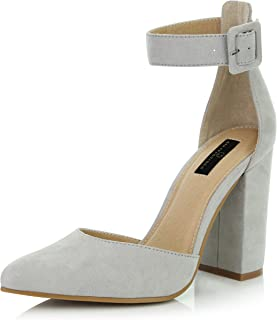 Women's Fashion Pointed Toe Chunky Ankle Strap Buckle High Heels Shoes